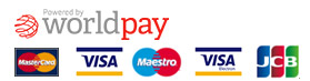 Payments by WorldPay: Visa, Maestro, MasterCard, American Express, PayPal