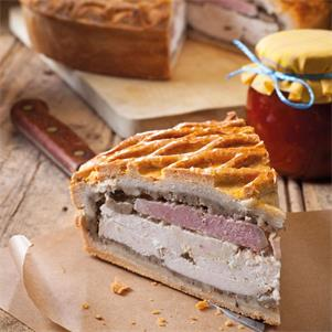 Layered Chicken, Ham & Stuffing Pie 14pp